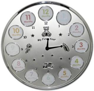 My First Year Silver Wall Clock Thumbnail 1