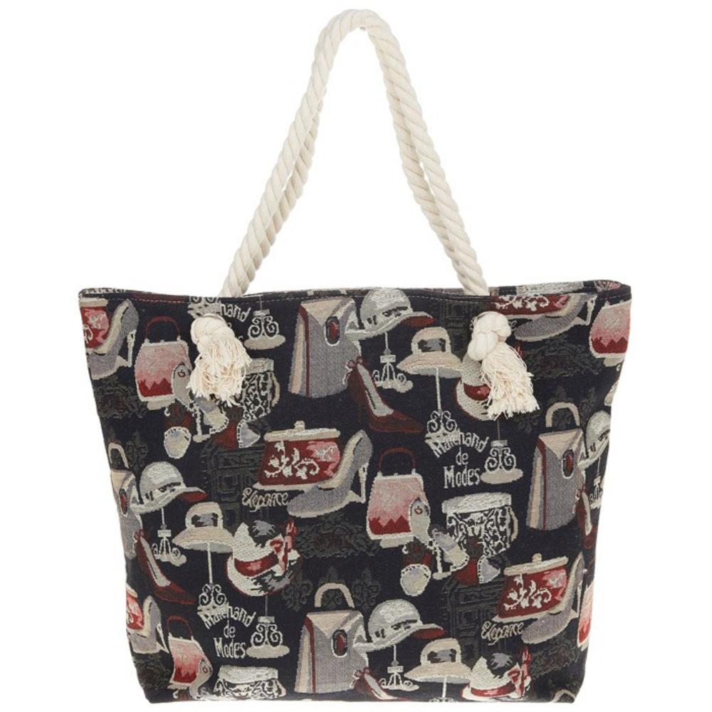 Black Parisienne Tapestry Bag