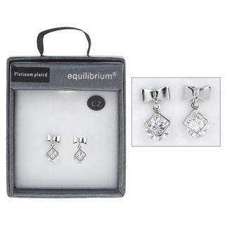 Platinum Plated Dangly Earrings Thumbnail 1
