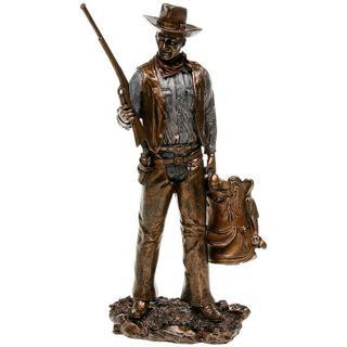 John Wayne Standing Holding Gun & Saddle Bronze Statue Thumbnail 1
