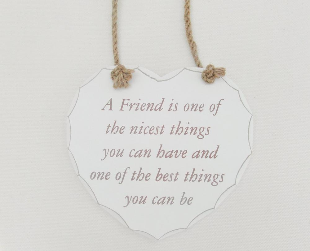Shabby Chic Heart Nice Friend Plaque