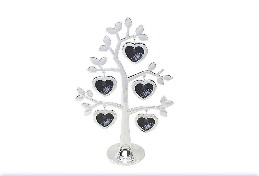 The Leonardo Collection Silver Love Heart Family Tree 5 Photo Frame