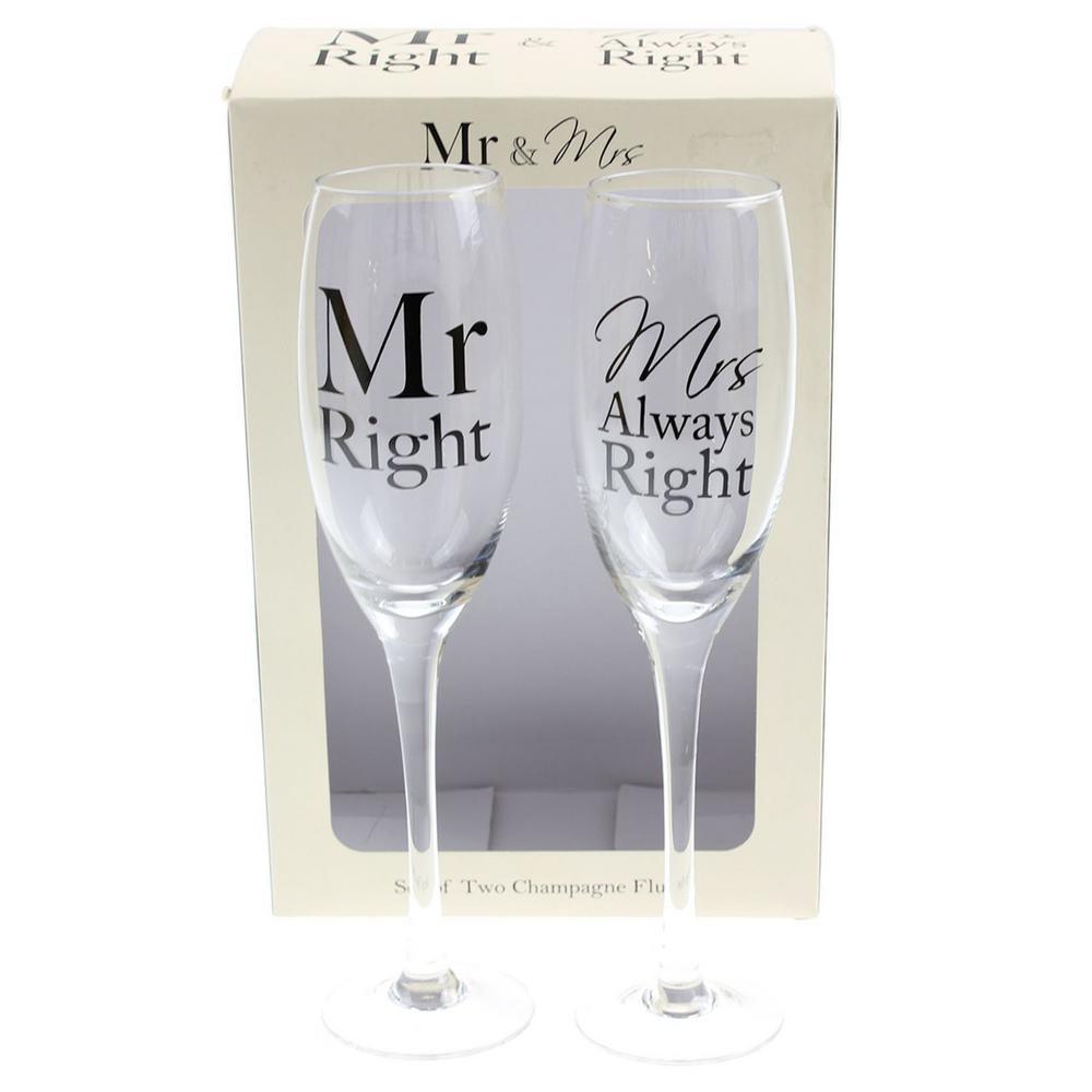 Mr & Mrs Right Set 2 Champagne Flutes