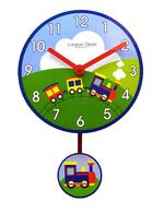 Train Design Childrens Bedroom Pendulum Wall Clock