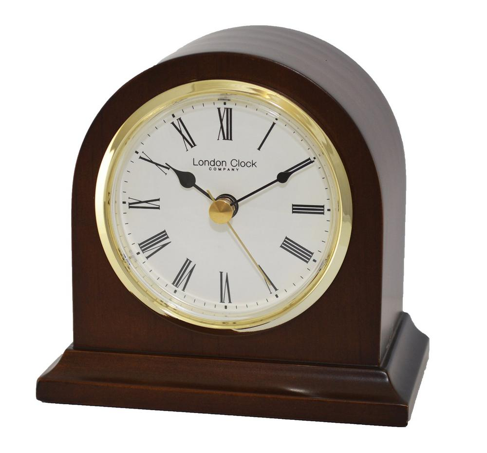 Mahogany Wood Finish Arch Mantel Clock