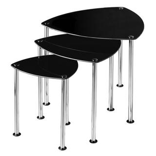 Three Black Glass Nested Tables Thumbnail 1