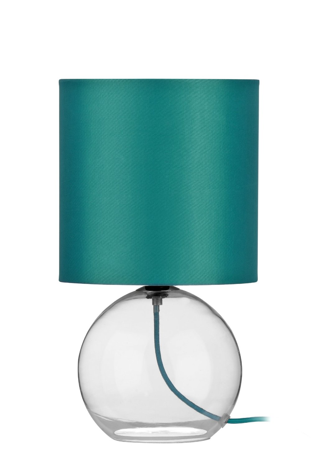 table lamp in teal shade and cable glass base modern. Black Bedroom Furniture Sets. Home Design Ideas