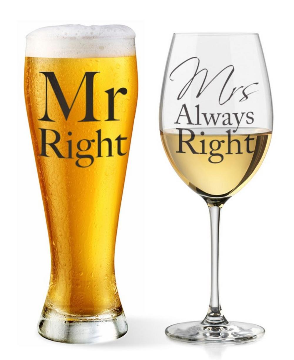 Mr & Mrs Beer and Wine Set