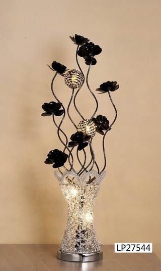 Crystal Vase Lamp Silver Black 80cm Thumbnail 2