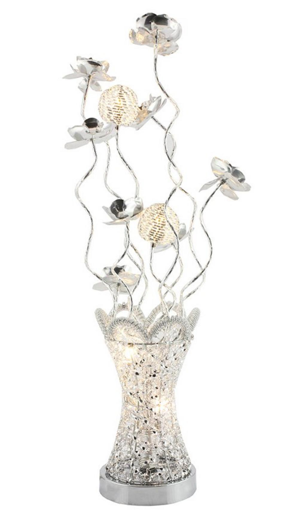 Crystal Vase Lamp Silver Small 80cm Tall