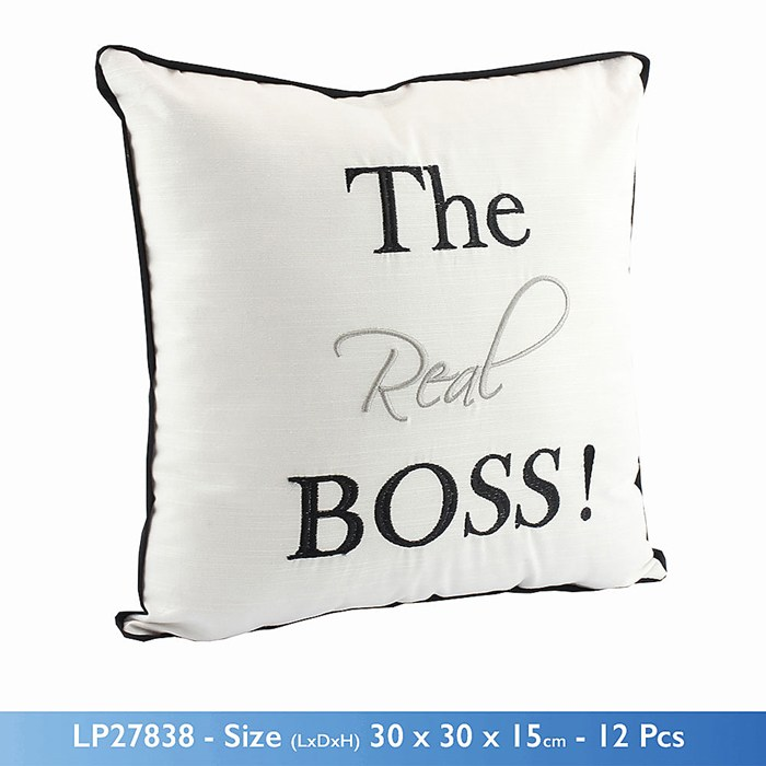 Wedding Gift For Boss: THE REAL BOSS PADDED CUSHION WITH STITCHED WRITING WEDDING