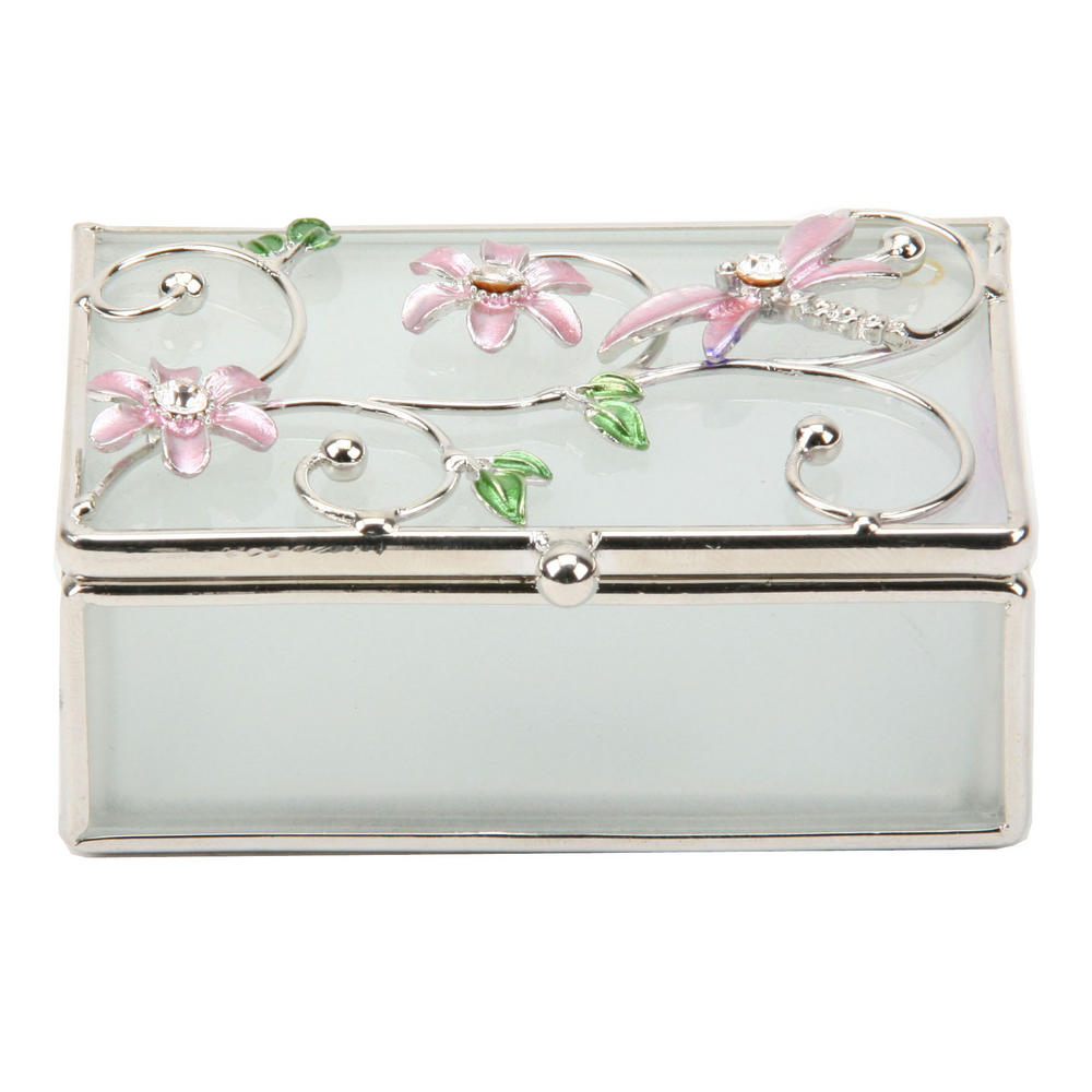 Glass & Wire Oblong Trinket Box With Dragonfly Pink By Juliana