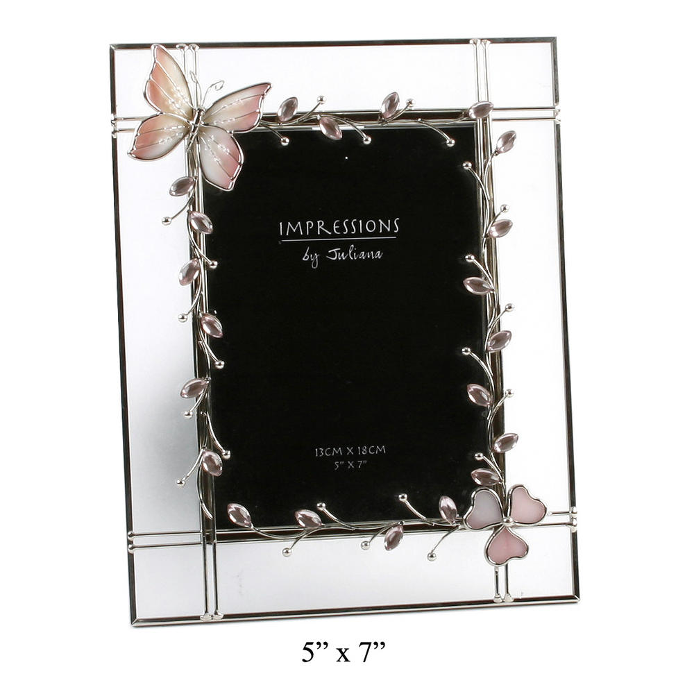 """Juliana Butterfly Oval Crystal Series - 5"""" X 7"""" Picture Photo Frame"""