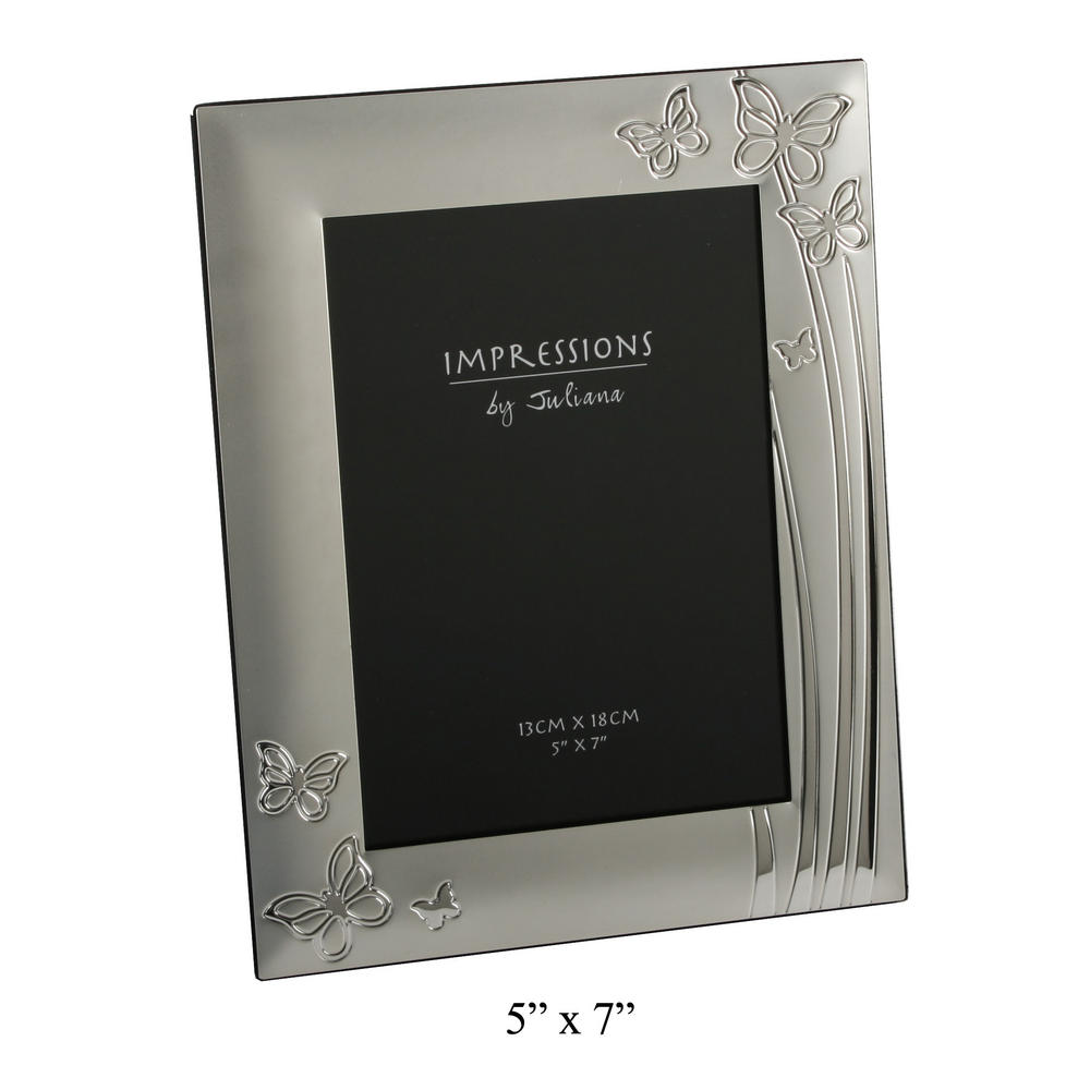 """Juliana 2 Tone Silverplated Picture Photo Frame Butterfly Design 5"""" X 7"""""""