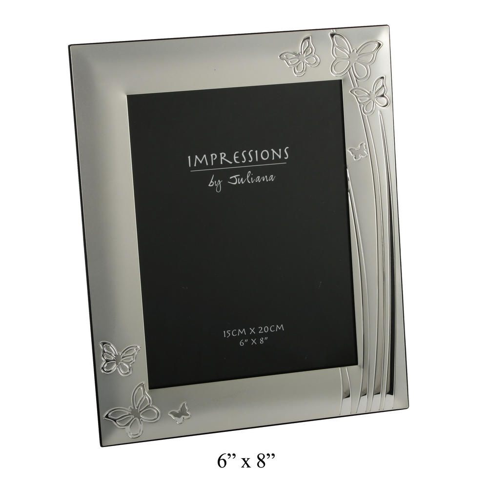 """Juliana 2 Tone Silverplated Picture Photo Frame Butterfly Design 6"""" X 8"""""""