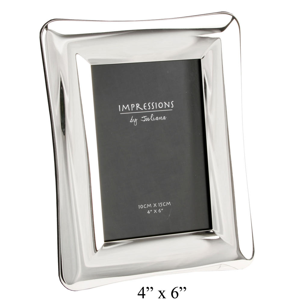 """Juliana Picture Photo Frame Shiny Silverplated Domed Design 4"""" X 6"""""""