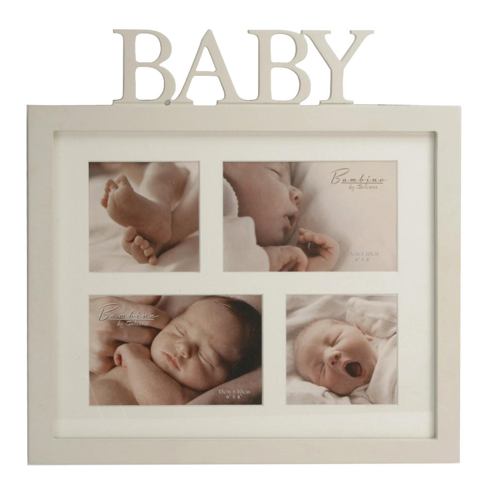"""Bambino By Juliana 4 Apertures Picture Photo Frame """"Baby"""" Letters"""