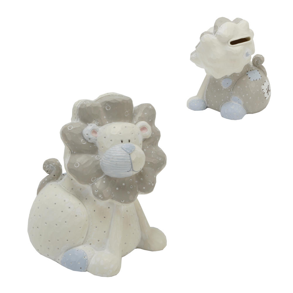 Tracey Russell Polka Dot Collection Resin Money Box Lion - Blue Baby Gift