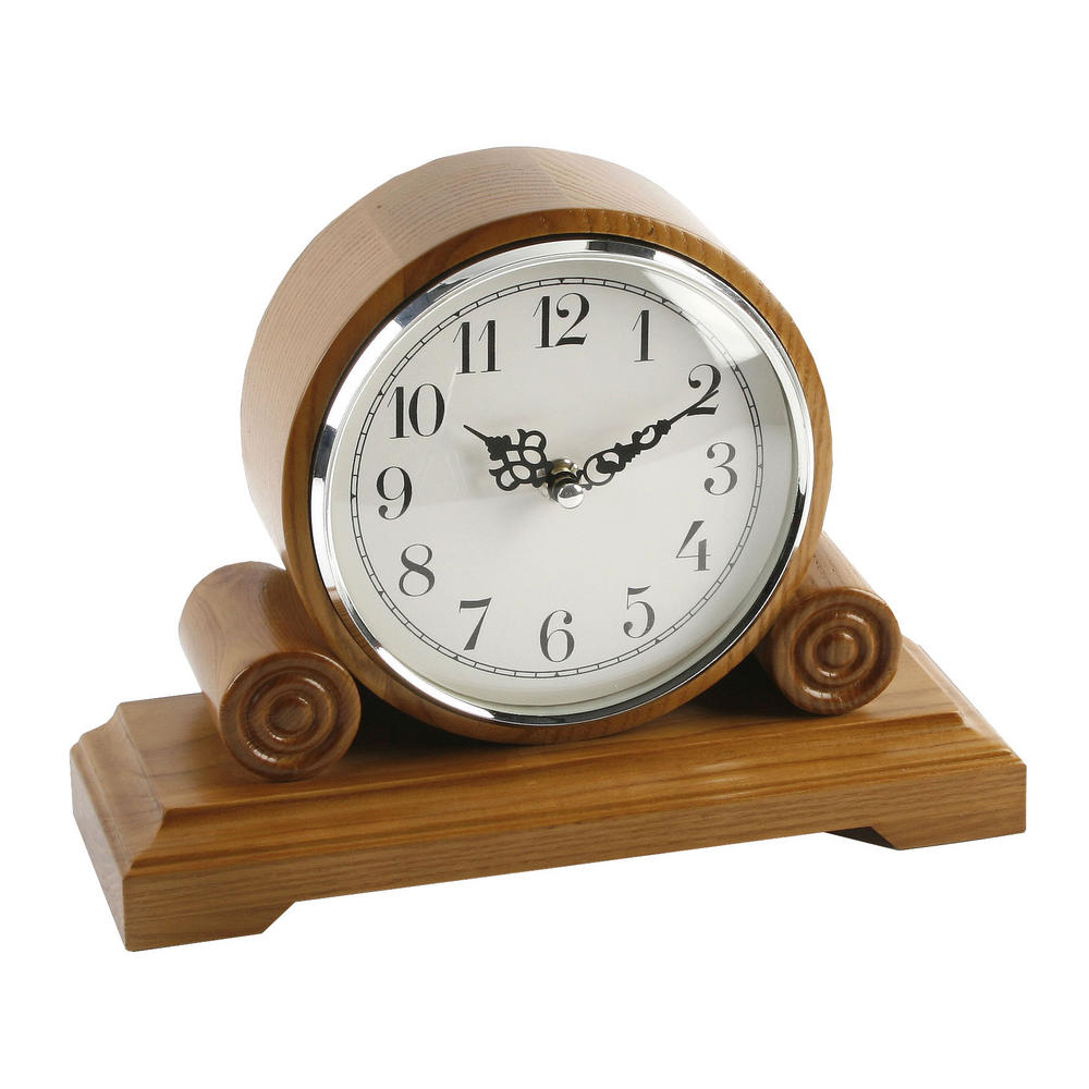 Barrel Shape Oak Finish Wooden Mantel Clock With Arabic Dial W250 X H180 X D90