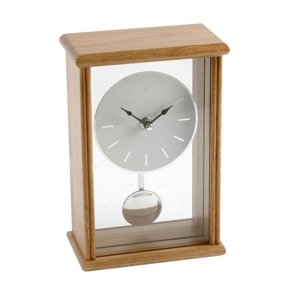 Oblong Large Oak Finish Pendulum Mantel Clock Batton Dial