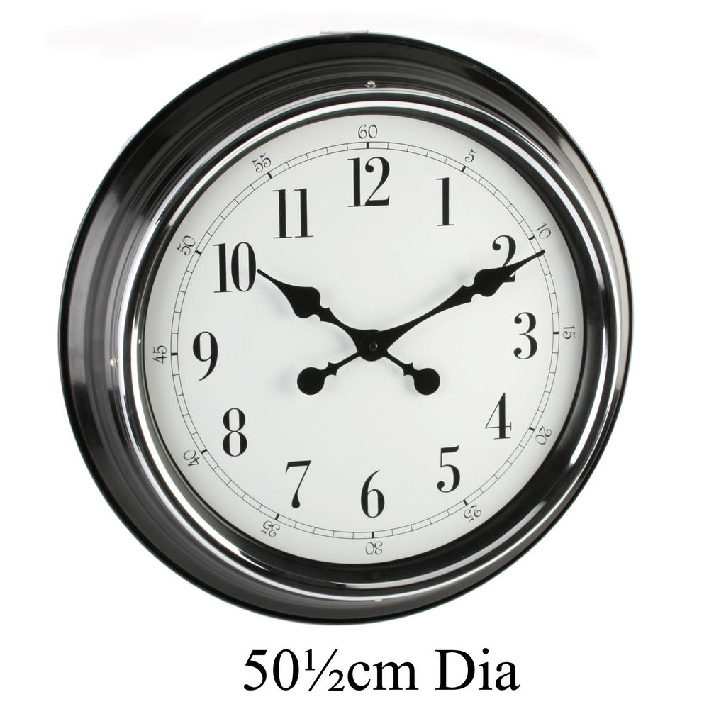 "Hometime Wall Clock Metal Case Blk Shiny Bezel 20"" Arab *6/1 W505 X H505 X D75"