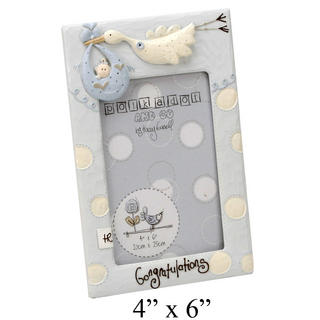 """Tracey Russell Polka Dot Collection Picture Photo Frame """"Congratulations"""" Blue Thumbnail 1"""