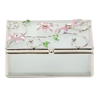 Glass & Wire Oblong Trinket Box With Dragonfly Pink By Juliana Thumbnail 1
