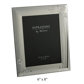 """Juliana 2 Tone Silverplated Picture Photo Frame Butterfly Design 6"""" X 8"""" Thumbnail 1"""