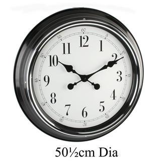 "Hometime Wall Clock Metal Case Blk Shiny Bezel 20"" Arab *6/1 W505 X H505 X D75 Thumbnail 1"