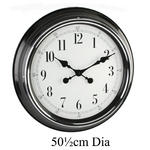 "Hometime Wall Clock Metal Case Blk Shiny Bezel 20"" Arab *6/1 W505 X H505 X D75"