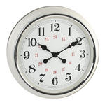 "HOMETIME 20"" WALL CLOCK CREAM METAL CASE SILVER BEZEL & RED ARABIC DIAL"