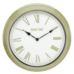 HOMETIME PLASTIC CASE WALL CLOCK PALE GREEN 40CMS
