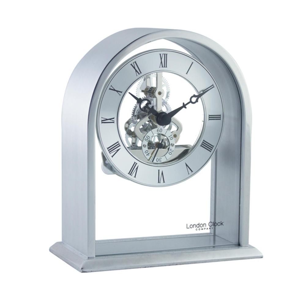 Silver Skeleton Mantel Clock