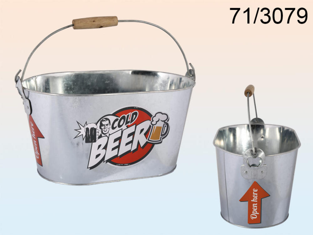Oval Metal Bucket Cold Beer Logo With Wooden Handles Incl. 2 Bottle Opener