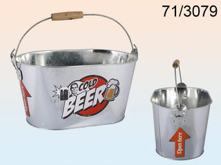 Oval Metal Bucket Cold Beer Logo With Wooden Handles Incl. 2 Bottle Opener Thumbnail 1