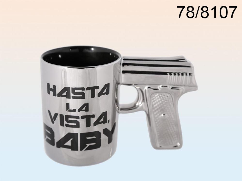 Silver Stoneware Mug With Pistol Grip Hasta La Vista Baby 16 x 10 cm