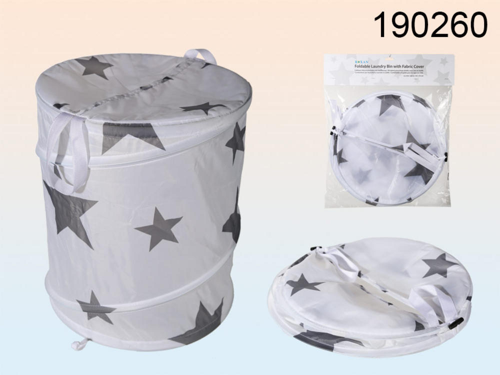 Foldable Laundry Bin With Fabric Cover 100% Polyester Star Patern