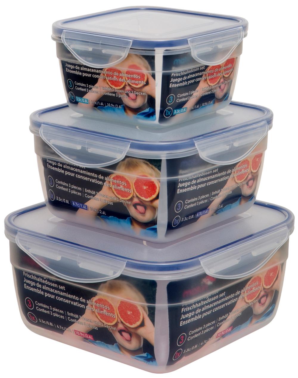 Set of three square clip lock airtight plastic kitchen for Plastic kitchen set
