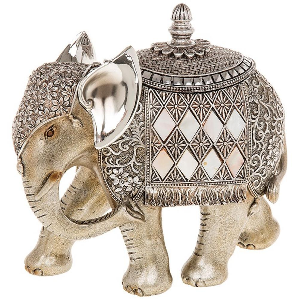 Silver And Pearl Elephant Trinket Box Ornament