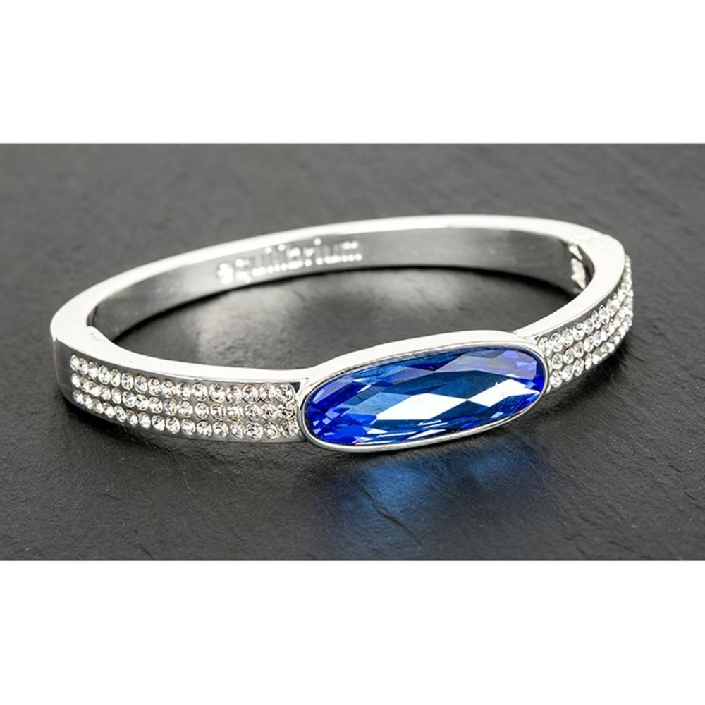 Equilibrium Jewellery Silver Plated Oval Crystal Bangle Blue