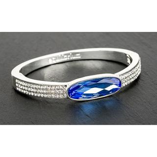 Equilibrium Jewellery Silver Plated Oval Crystal Bangle Blue Thumbnail 1