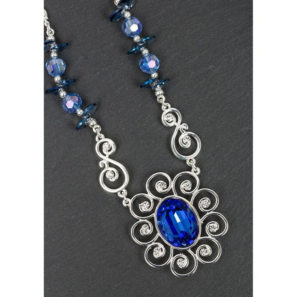 Silver Plated Blue Crystal Flower Necklace
