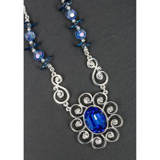 Silver Plated Blue Crystal Flower Necklace Thumbnail 1