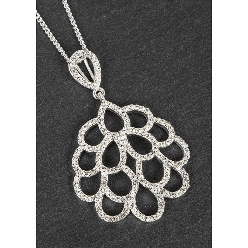 Silver Plated Frilly Round Necklace