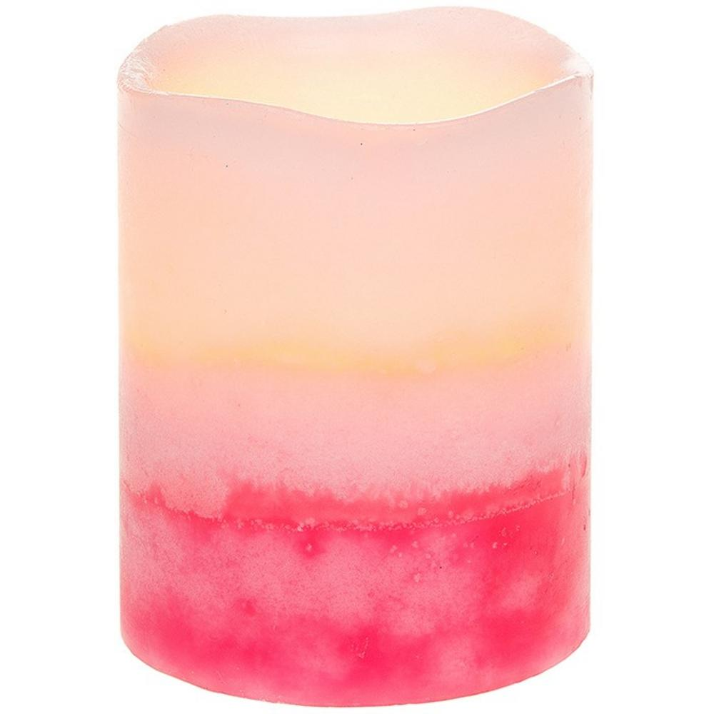 Two Tone Led Flicker Candle Blush Pink Small