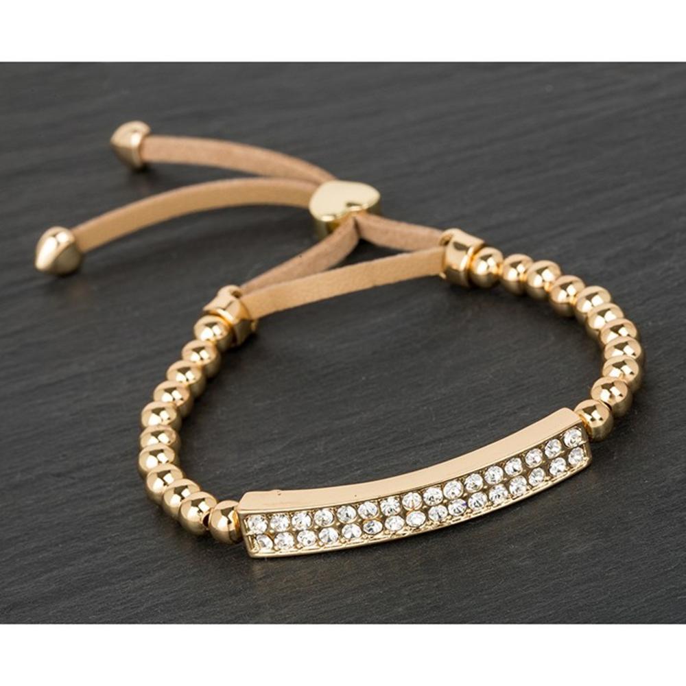 Gold Plated Diamante Bling Friendship Bracelet Clear