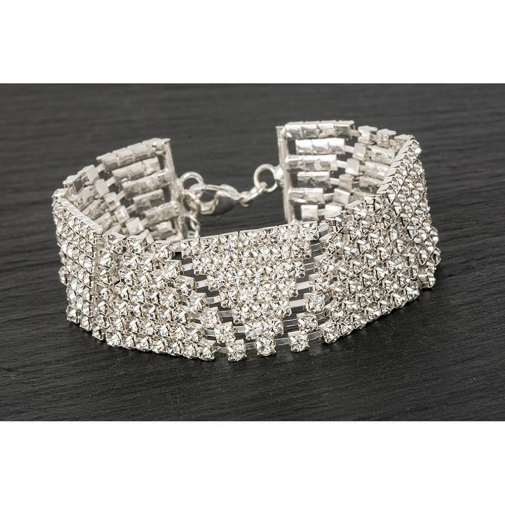 Silver Plated Diamante V Bracelet
