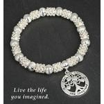 Silver Plated Tree Live Life Imagine Bracelet
