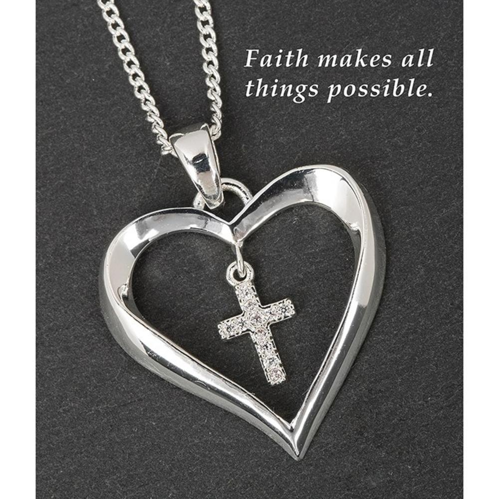 Silver Plated Heart Dangly Cross Necklace