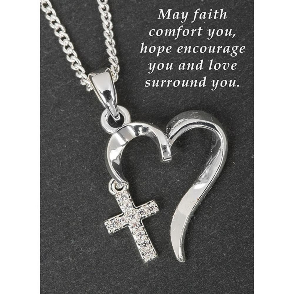 Silver Plated Entwined Heart Cross Necklace